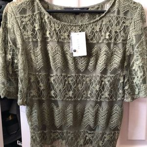 NWT guess olive green top